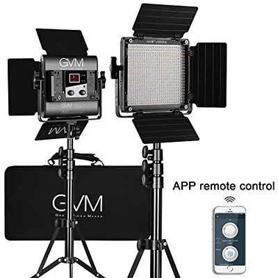 GVM 560 LED Video Light, Dimmable Bi-Color, 2 Packs Photography Lighting with