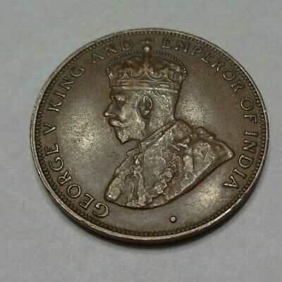 1933 Hong Kong One 1 Cent Bronze Coin George V King Emperor of India Small Type