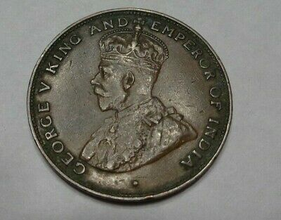 1925 Hong Kong One 1 Cent Bronze Coin George V King Emperor India Large Type