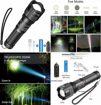 XHP50 Torches Led Super Bright 2000 Lumens, LED Torch Rechargeable with Black