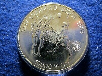 1988 South Korea Silver 10,000 Won - Volleyball - Choice Bright Uncirculated