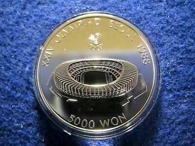 1987 South Korea 5,000 Won Silver - Stadium - Encapsulated