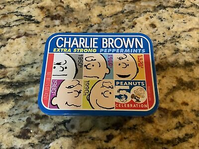 Charlie Brown extra strong peppermint tin with peppermints