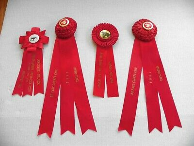 4 Early 60'S Vintage Red Rosette Horse Show Ribbons, Awards, Appalossa
