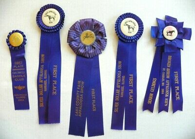 5 Early 60'S Vintage First Place Horse Show Ribbons, Awards, Appalossa