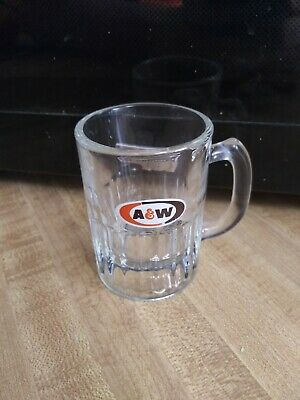 "Vintage A & W 3oz Root Beer Mug 3.25"" Tall Heavy Small Glass Oval Design Drink"