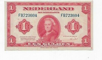 1943 Netherlands Note  1 Gulden Note  HIGH GRADE  WW ll Era Note
