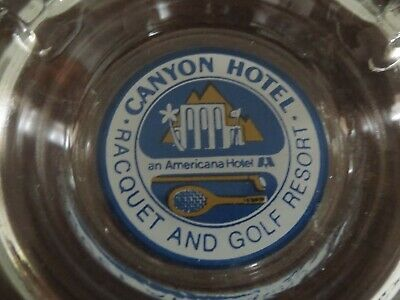 1970s Canyon Hotel Racquet and Golf Resort Palm Springs Glass Promo Ashtray