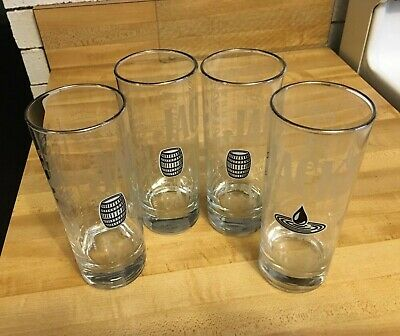 Jack Daniels Silver Rimmed Etched Clear Tumblers Set Of 4 EUC