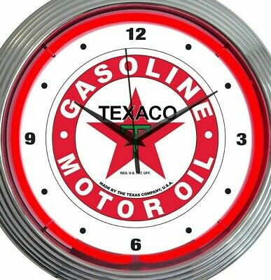 Texaco Gasoline Motor Oil Neon Clock 15 Inch Office Home Bar Business