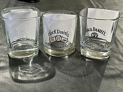 Three (3) Jack Daniel's Rocks Glasses Two Square Tumblers One Embossed Old No. 7
