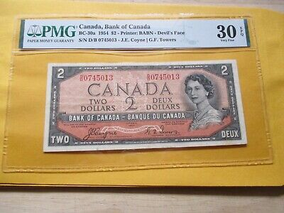 1954 $2 Bc-30B Bank Of Canada Graded By Pmg 30Epq Devil,S Face