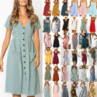 UK Womens Floral Party Holiday Summer Sundress Ladies Strappy Swing Midi Dress