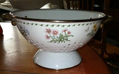 Vintage White Enamel Colander Strainer with Brass Handles Footed with Painted Flowers