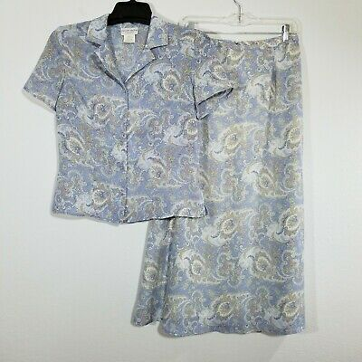 Jaclyn Smith Womens Skirt Suit Size 8 Blue Paisley Blouse Long A Lined 18 55 Picclick