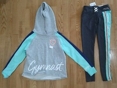 NWT JUSTICE GIRLS 10 OR 12 OUTFIT~SHERPA SNAP UP SWEATSHIRT//FLEECE LINED LEGGING