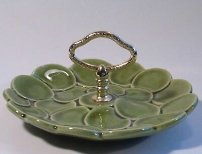 Calif USA Pottery Gold Handle Serving Plate Mid Century