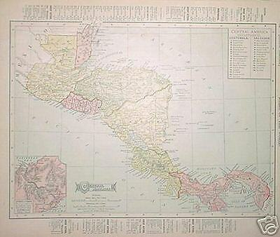 1904 Central America  Color Dated Map*