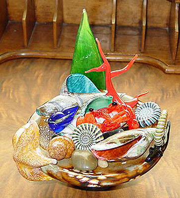 Signed and Dated Sumo Art Glass Tide Pool Sculpture with Multiple Pieces