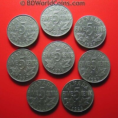 Lot Of (8) Canada Canadian 5 Cents Coins: 1923+1927+(2)1928+1929+1930+1933+1936