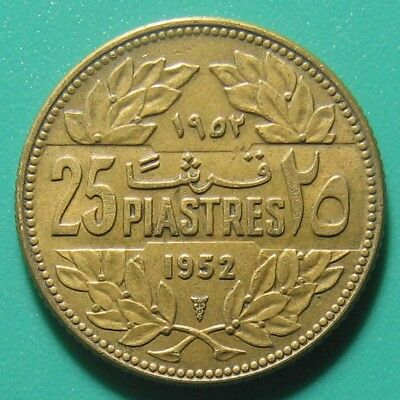 1952 LEBANON 25 PIASTRES CEDAR TREE COLLECTABLE WORLD COIN AL-BRONZE 4gr 23mm