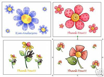 Flower Note Cards and Matching Address Labels