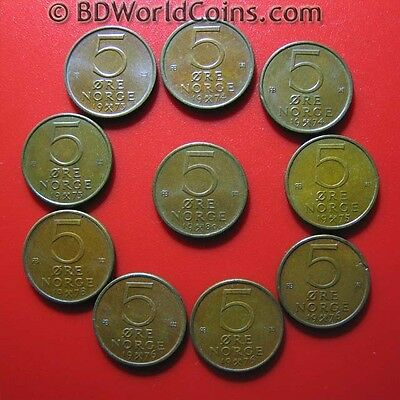 LOT OF (10) NORWAY 5 ORE COINS: (2)1973+(2)1974+(1)1975+(3)1976+(1)1978+(1)1980