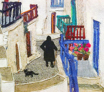 Lilly Kristensen STREET AT MYKONOS Original Wool Collage, Greece, MAKE AN OFFER!