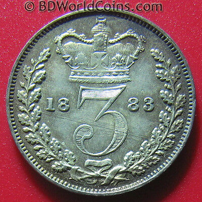 1883 Maundy 3 Pence Silver Au+Luster! High Grade Great Britain Mint=4,488 Coins!