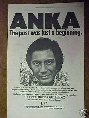 1974 Paul Anka Record,Album Trade Promo Photo Print  Ad