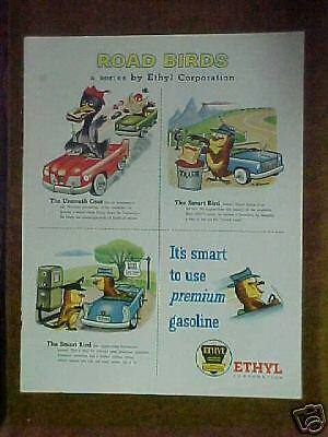 1956 Ethyl Gasoline Roadbirds Owl Print Advertisment Ad