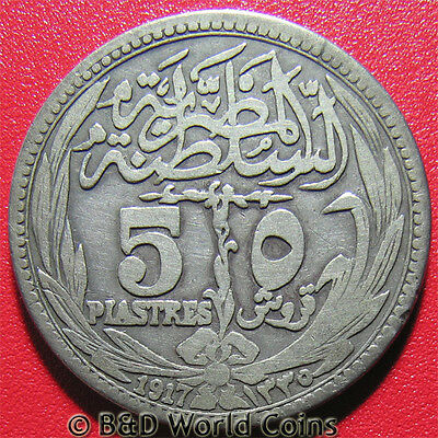 EGYPT 1917 (AH-1335) 5 PIASTRES SILVER 26mm EGYPTIAN COLLECTABLE WORLD COIN