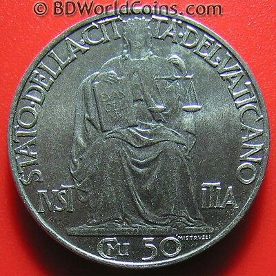 1942 VATICAN CITY 50 CENTESIMI PIUS XII COLLECTABLE COIN STAINLESS STEEL 24mm