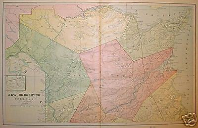 1898 Northern New Brunswick, Canada Large 2pg Color Map