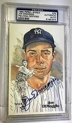JOE DiMAGGIO PSA/DNA SLABBED AUTOGRAPHED LIMITED EDITION PEREZ STEELE CARD