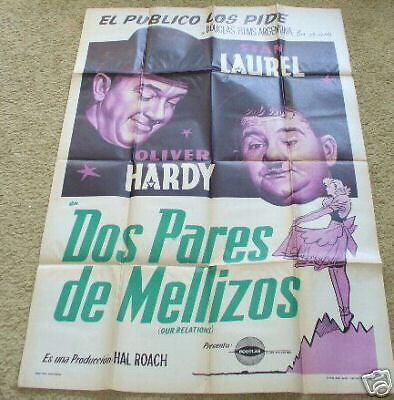 LAUREL & HARDY Our Relations 1936 Argentina 29x44 original movie poster