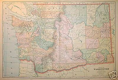1902 Washington  Large 2-pg Color Map** 105 years-old!!