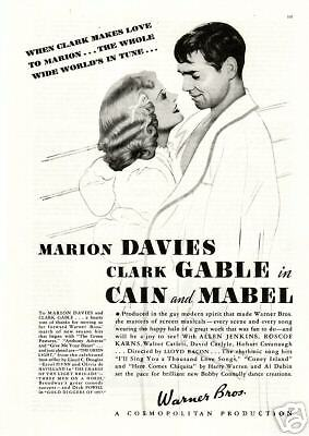 1936 Cain and Mabel Movie Ad. Clark Gable & Davies