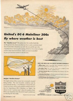 1949 United Airlines DC-6 Mainliner 300 Magazine Ad