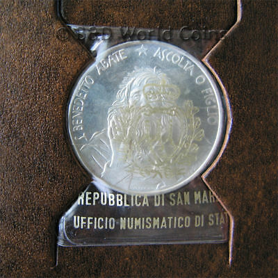 SAN MARINO 1980 1000 LIRE SILVER SAINT BENEDICT BOOKLET/COA MANY MELTED! 31mm
