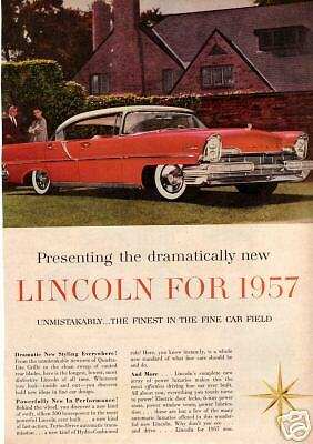 1957 Red  Lincoln Auto. Ad. 300 hp Engine