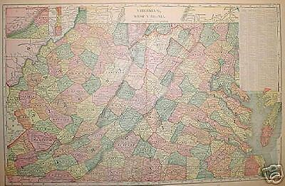 1903 Virginia and West Virginia  Large 2-pg Color Map**