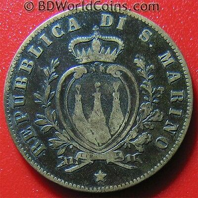SAN MARINO 1869 M 5 CENTESIMI MILAN MINT LOW MINT DATE WORLD COIN! COPPER 25mm