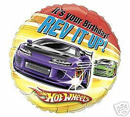 "18"" HOT WHEELS RACE  CARS IT'S YOUR BIRTHDAY REV IT UP"