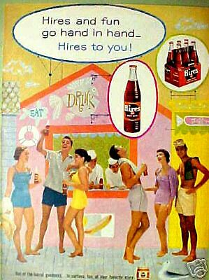1956 Hires Root Beer Soda-Pop Bottle Carton Fashion AD