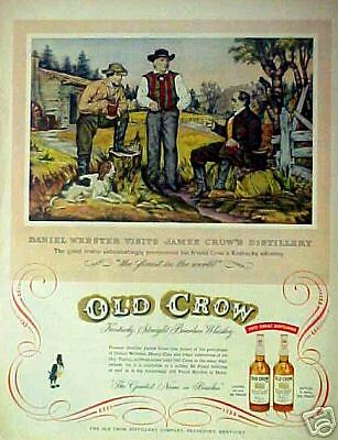 1954 Daniel Webster  Old Crow  Kentucky Whiskey Art Ad