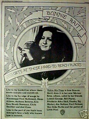 1973 Bonnie Raitt Rock & Roll Album,Records Art Print Ad
