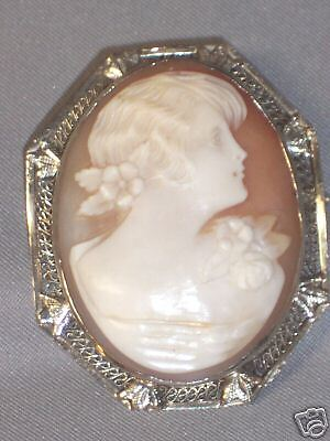 Antique Cameo Pin In 14K White Gold 8-Sided Frame