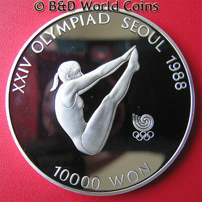 1987 KOREA SOUTH 10000 WON 1oz SILVER PROOF DIVING DIVE 1988 SEOUL OLYMPICS 40mm