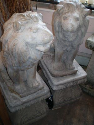 Vintage 1950's Pair Of Garden Lions On Plinths.architectural Salvage Reclamation